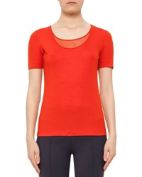 Akris Punto Short Sleeve Mesh Knit Top Rust