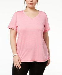 Ideology Plus Size Striped T Shirt Created For Macy's Camellia Rose