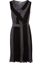 Nina Ricci Gathered Silk Chiffon And Washed Satin Dress