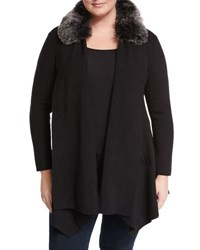 Cirana Faux Fur Trim Open Front Cardigan Black