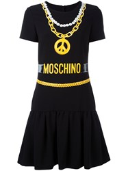 Moschino Necklace Print T Shirt Dress Women Polyester Triacetate 42 Black