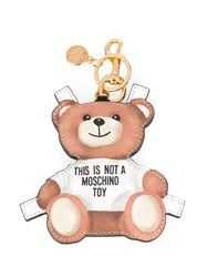 Moschino Toy Bear Paper Cut Out Keyring Brown