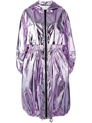 Msgm Metallic Oversized Coat Pink Purple