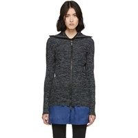 M Missoni Black And Multicolor Printed Zip Up Sweater