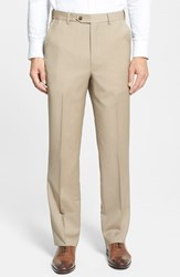 Men's Big And Tall Berle Self Sizer Waist Flat Front Wool Trousers Tan