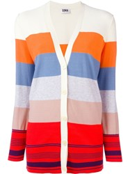 Sonia By Sonia Rykiel Striped V Neck Button Down Cardigan Nude And Neutrals