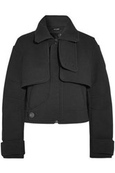 Atlein Cropped Felt Coat Black