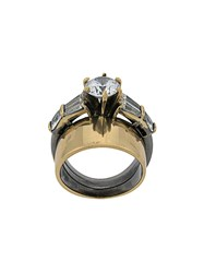 Iosselliani White Eclipse Stacked Ring Gold