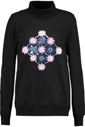 Markus Lupfer Daisy Embellished Cotton Jersey Turtleneck Sweatshirt Black