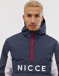 Nicce London Overhead Jacket In Reflective Check Print Navy