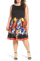 Gabby Skye Plus Size Women's Mixed Media Fit And Flare Dress