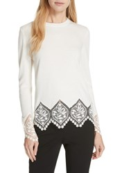 Ted Baker London Aylex Lace Detail Wool Cashmere Blend Sweater