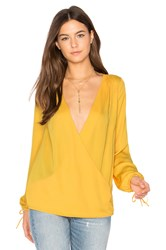 L'academie The Long Sleeve Wrap Blouse Yellow