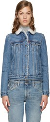Levi's Blue Authentic Sherpa Denim Trucker Jacket