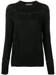 Dolce And Gabbana Slim Fit Lace Pullover Black