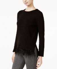 Kensie Textured Faux Feather Hem Sweater Black