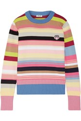Kenzo Appliqued Striped Cotton Blend Sweater Pink