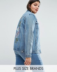 Alice And You Painted Floral Denim Jacket Blue