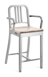 Emeco Navy Counter Stool With Arms And Natural Wood Seat Gray