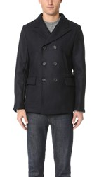 Billy Reid Wool Peak Lapel Pea Coat Navy