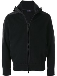 Paul And Shark Knitted Hooded Jacket Black