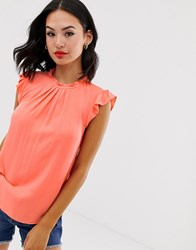 Oasis Top With Pleat Neck In Pink Multi
