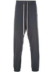 Rick Owens Dropped Crotch Track Trousers Blue