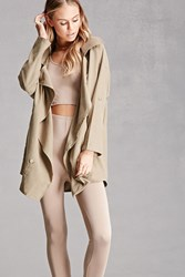 Forever 21 Double Breasted Coat Olive