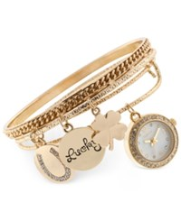 Styleandco. Style And Co. Women's Crystal Accent Gold Tone Alloy Charm Bangle Bracelet Watch Set 20Mm Sy011g Only At Macy's