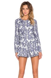The Fifth Label Sound And Vision Long Sleeve Playsuit Blue