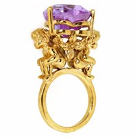 Metal Couture African Violet Cherub And Heart Ring Gold