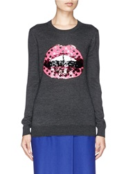 Markus Lupfer 'Hot Pink Star' Sequin Lara Lip Sweater Grey