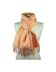 Forzieri Peach Pashmina And Silk Shawl Pale Peach