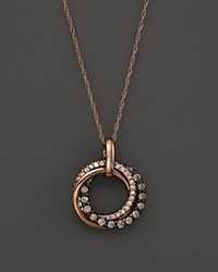 Bloomingdale's Brown And White Diamond Interlocking Circle Pendant Necklace In 14K Rose Gold .50 Ct. T.W. Multi