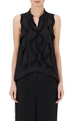 Chloe Women's Pom Pom Trimmed Sleeveless Silk Blouse Black