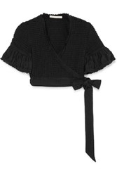 Jonathan Simkhai Cropped Lace Trimmed Ruffled Stretch Knit Wrap Top Black Gbp