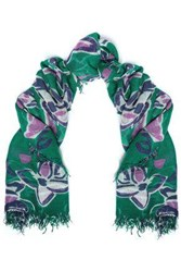 Chan Luu Woman Frayed Floral Print Cashmere And Silk Blend Scarf Emerald
