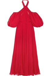 Giambattista Valli Cold Shoulder Pleated Silk Chiffon Halterneck Gown Red