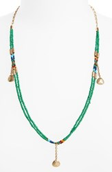 Treasure And Bond Women's Beaded Pendant Necklace Red Multi Gold