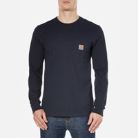 Carhartt Men's Long Sleeve Pocket T Shirt Navy Heather Blue
