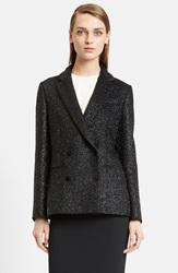 Cedric Charlier Double Breasted Shimmer Wool Blend Jacket Black