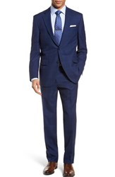 Peter Millar Big And Tall Classic Fit Windowpane Wool Suit Navy