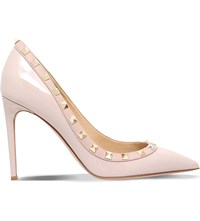 Valentino Rockstud 100 Patent Leather Heeled Pumps Nude