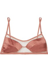 Dion Lee Tulle And Stretch Silk Satin Soft Cup Triangle Bra Bronze