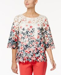 Charter Club Lace Floral Print Top Only At Macy's Vintage Cream Combo