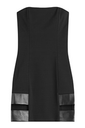 Anthony Vaccarello Mini Dress With Leather And Cut Out Detail Black