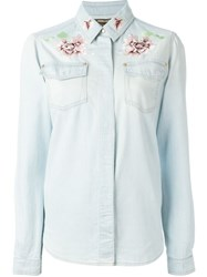 Roberto Cavalli Floral Embroidered Denim Shirt Blue