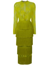 Daizy Shely Fringe Tiered Lace Dress Yellow And Orange