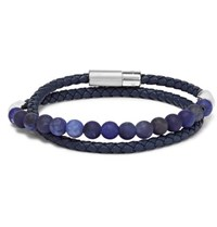 Tateossian Woven Leather And Sodalite Wrap Bracelet Blue