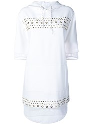 Versace Jeans Studded Fishnet Hooded Dress White